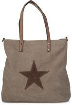 styleBREAKER canvas shopper handbag with star patch, sling bag, shoulder bag, ladies 02012048 – Bild 3
