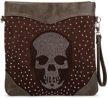 styleBREAKER shoulder bag, clutch with rhinestone skull and rhinestone-rivet applications, ladies 02012049 – Bild 4