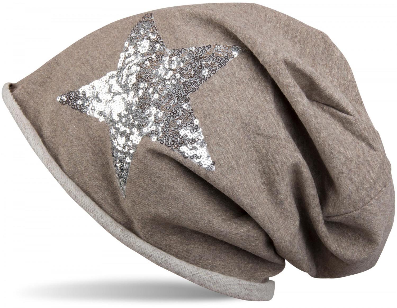 Beanie Mütze mit silbernem Pailletten Stern & Rollrand, Star