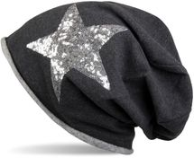 styleBREAKER silver star sequined slouch beanie with rolled cuff, ladies 04024056  – Bild 2