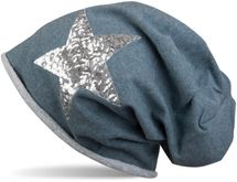 styleBREAKER silver star sequined slouch beanie with rolled cuff, ladies 04024056  – Bild 3