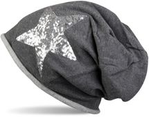 styleBREAKER silver star sequined slouch beanie with rolled cuff, ladies 04024056  – Bild 5