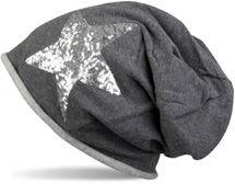 styleBREAKER Beanie Mütze mit silbernem Pailletten Stern und Rollrand, Damen 04024056 – Bild 5