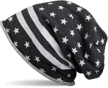 styleBREAKER US design slouch beanie with rolled cuff, stars and stripes, unisex 04024057 – Bild 2