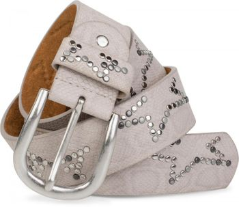 styleBREAKER studded belt with decent star rivet design and vintage look honeycomb embossing, can be cut to length on request, unisex 03010054 – Bild 26