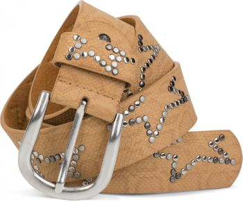 styleBREAKER studded belt with decent star rivet design and vintage look honeycomb embossing, can be cut to length on request, unisex 03010054 – Bild 30