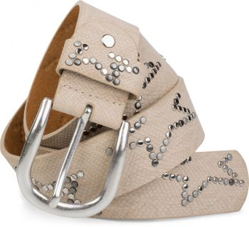 styleBREAKER studded belt with decent star rivet design and vintage look honeycomb embossing, can be cut to length on request, unisex 03010054 – Bild 29