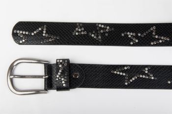 styleBREAKER studded belt with decent star rivet design and vintage look honeycomb embossing, can be cut to length on request, unisex 03010054 – Bild 9