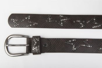 styleBREAKER studded belt with decent star rivet design and vintage look honeycomb embossing, can be cut to length on request, unisex 03010054 – Bild 24