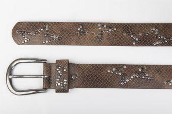 styleBREAKER Nietengürtel mit dezentem Stern Nieten Design und Schlangen Print im Vintage Look, kürzbar, Unisex 03010054 – Bild 3