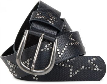 styleBREAKER studded belt with decent star rivet design and vintage look honeycomb embossing, can be cut to length on request, unisex 03010054 – Bild 4