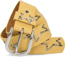 styleBREAKER studded belt with decent star rivet design and vintage look honeycomb embossing, can be cut to length on request, unisex 03010054 – Bild 27