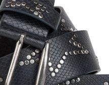 styleBREAKER studded belt with decent star rivet design and vintage look honeycomb embossing, can be cut to length on request, unisex 03010054 – Bild 5