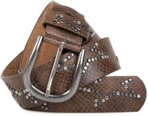 styleBREAKER studded belt with decent star rivet design and vintage look honeycomb embossing, can be cut to length on request, unisex 03010054 – Bild 1