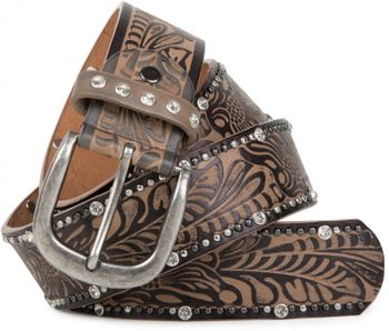 styleBREAKER vintage belt with ornament embossing, rivets and rhinestone, can be cut to length on request, ladies 03010056 – Bild 4