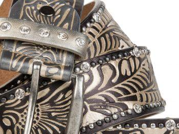 styleBREAKER Vintage Gürtel mit Ornament Prägung, Nieten und Strass, kürzbar, Damen 03010056 – Bild 14