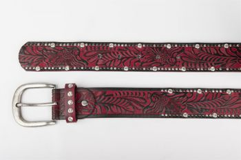 styleBREAKER vintage belt with ornament embossing, rivets and rhinestone, can be cut to length on request, ladies 03010056 – Bild 21