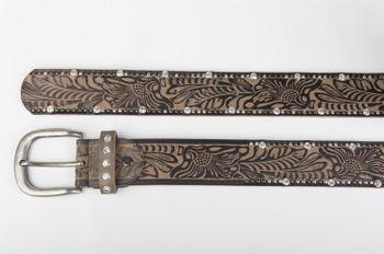 styleBREAKER Vintage Gürtel mit Ornament Prägung, Nieten und Strass, kürzbar, Damen 03010056 – Bild 6