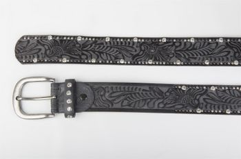 styleBREAKER vintage belt with ornament embossing, rivets and rhinestone, can be cut to length on request, ladies 03010056 – Bild 12