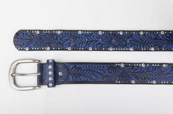 styleBREAKER Vintage Gürtel mit Ornament Prägung, Nieten und Strass, kürzbar, Damen 03010056 – Bild 9