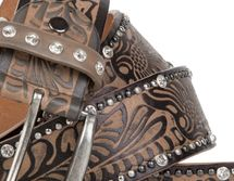 styleBREAKER vintage belt with ornament embossing, rivets and rhinestone, can be cut to length on request, ladies 03010056 – Bild 5