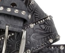 styleBREAKER vintage belt with ornament embossing, rivets and rhinestone, can be cut to length on request, ladies 03010056 – Bild 11