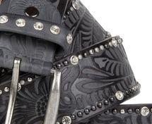 styleBREAKER Vintage Gürtel mit Ornament Prägung, Nieten und Strass, kürzbar, Damen 03010056 – Bild 11