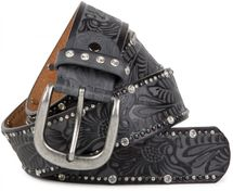 styleBREAKER vintage belt with ornament embossing, rivets and rhinestone, can be cut to length on request, ladies 03010056 – Bild 10