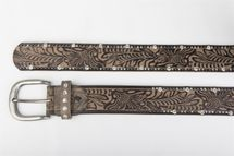 styleBREAKER vintage belt with ornament embossing, rivets and rhinestone, can be cut to length on request, ladies 03010056 – Bild 6