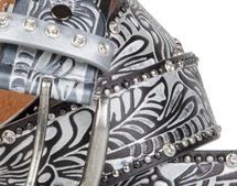 styleBREAKER Vintage Gürtel mit Ornament Prägung, Nieten und Strass, kürzbar, Damen 03010056 – Bild 2