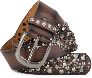 styleBREAKER vintage belt with rivets and rhinestone, 2-tone design, can be cut to length on request, ladies 03010057 – Bild 10