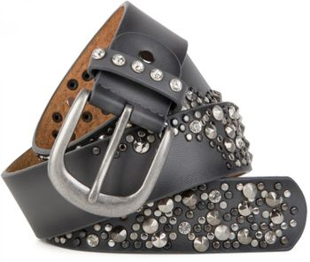 styleBREAKER vintage belt with rivets and rhinestone, 2-tone design, can be cut to length on request, ladies 03010057 – Bild 6