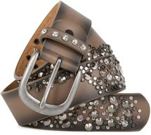 styleBREAKER vintage belt with rivets and rhinestone, 2-tone design, can be cut to length on request, ladies 03010057 – Bild 5