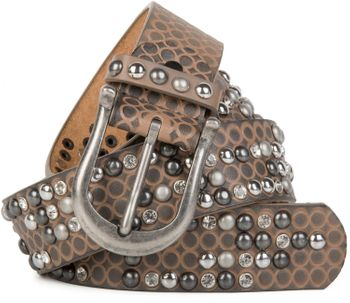 styleBREAKER studded belt with ornamental loops embossing, rhinestone and vintage design ball-shaped rivets, can be cut to lenght on request, ladies 03010058 – Bild 1
