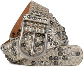 styleBREAKER studded belt with ornamental loops embossing, rhinestone and vintage design ball-shaped rivets, can be cut to lenght on request, ladies 03010058 – Bild 8