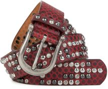 styleBREAKER studded belt with ornamental loops embossing, rhinestone and vintage design ball-shaped rivets, can be cut to lenght on request, ladies 03010058 – Bild 3