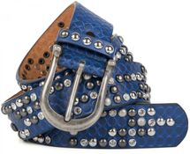 styleBREAKER studded belt with ornamental loops embossing, rhinestone and vintage design ball-shaped rivets, can be cut to lenght on request, ladies 03010058 – Bild 6
