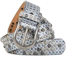 styleBREAKER studded belt with ornamental loops embossing, rhinestone and vintage design ball-shaped rivets, can be cut to lenght on request, ladies 03010058 – Bild 5