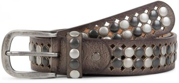 styleBREAKER vintage design studded belt with light and dark coloured rivets, all over perforation, can be cut to length on request, unisex 03010060 – Bild 9