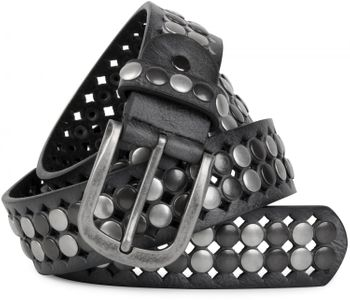styleBREAKER vintage design studded belt with light and dark coloured rivets, all over perforation, can be cut to length on request, unisex 03010060 – Bild 1