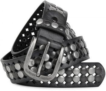 styleBREAKER Vintage Design Nietengürtel mit hellen und dunklen Nieten, all over Perforation, kürzbar, Unisex 03010060 – Bild 1