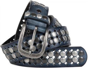 styleBREAKER vintage design studded belt with light and dark coloured rivets, all over perforation, can be cut to length on request, unisex 03010060 – Bild 5