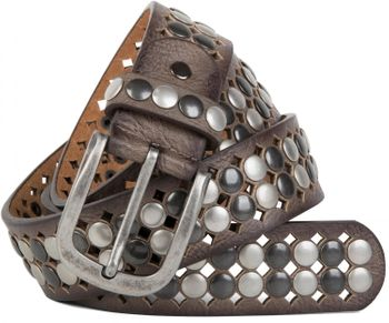 styleBREAKER vintage design studded belt with light and dark coloured rivets, all over perforation, can be cut to length on request, unisex 03010060 – Bild 2