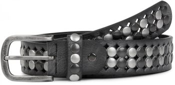 styleBREAKER vintage design studded belt with light and dark coloured rivets, all over perforation, can be cut to length on request, unisex 03010060 – Bild 8