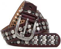 styleBREAKER Vintage Design Nietengürtel mit hellen und dunklen Nieten, all over Perforation, kürzbar, Unisex 03010060 – Bild 4
