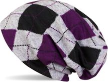 styleBREAKER flecked vintage style classic checked pattern fine knit slouch beanie, unisex 04024055  – Bild 3