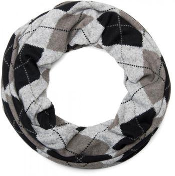 styleBREAKER Feinstrick Loop Schlauchschal mit klassischem Karo Muster in meliertem Vintage Look, Schal, Unisex 01018083 – Bild 3