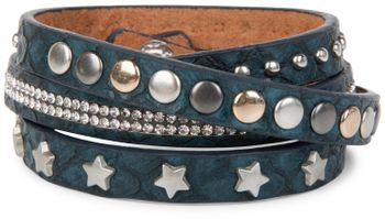 styleBREAKER wrap bracelet with rhinestone, different rivets and stars, bracelet, ladies 05040029 – Bild 2