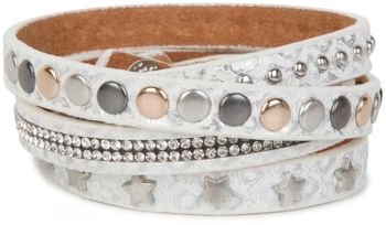 styleBREAKER wrap bracelet with rhinestone, different rivets and stars, bracelet, ladies 05040029 – Bild 4