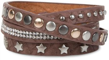 styleBREAKER wrap bracelet with rhinestone, different rivets and stars, bracelet, ladies 05040029 – Bild 7